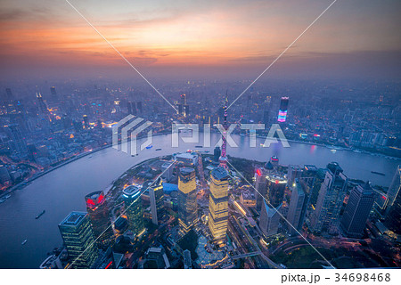 Aerial view of shanghai by the sunset 34698468