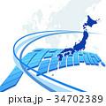 ビジネス 日本地図 グローバルのイラスト 34702389