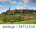 Old italian town on top of hill in Tuscany 34711516