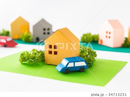 緑のある街 コミュニティ 町並み 住宅地 不動産 道路 ペーパークラフト 34713251