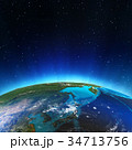 East from space 3d rendering 34713756