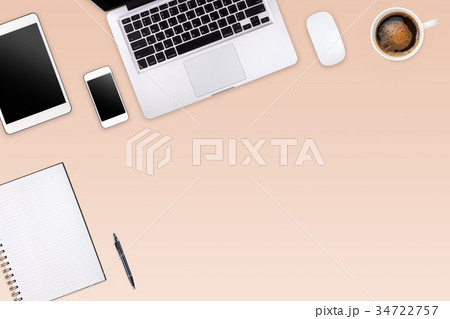 Modern workspace with laptop tablet, smartphone の写真素材 [34722757] - PIXTA