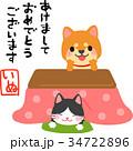 年賀状 こたつ 犬のイラスト 34722896