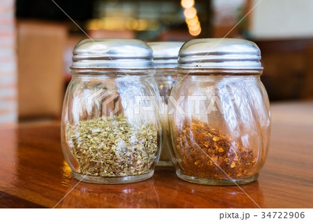 Glass of cheese salt and pepper shakers の写真素材 [34722906] - PIXTA