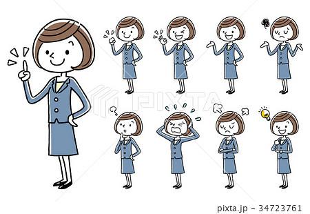 ビジネス:若い女性、セット、バリエーション 34723761