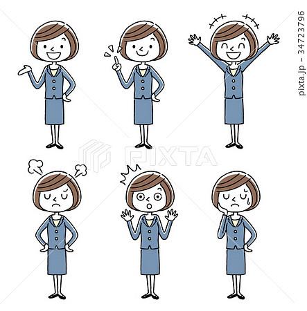 ビジネス:若い女性、セット、バリエーション 34723796