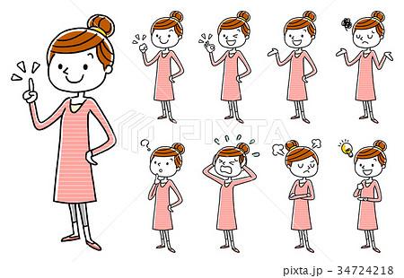 若い女性:セット、バリエーション 34724218