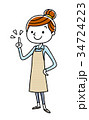主婦 若い 女性のイラスト 34724223