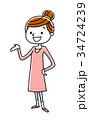 若い 女性 ベクターのイラスト 34724239