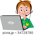 パソコン 子供 オンライン教育のイラスト 34728780