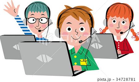 パソコン オンライン教育 子供たち 34728781