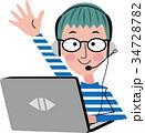 パソコン 子供 オンライン教育のイラスト 34728782