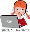 パソコン 子供 オンライン教育のイラスト 34728783