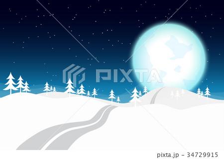 Blue Moon in Winter Night 34729915