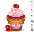 ケーキ サクランボ チェリーのイラスト 34732725