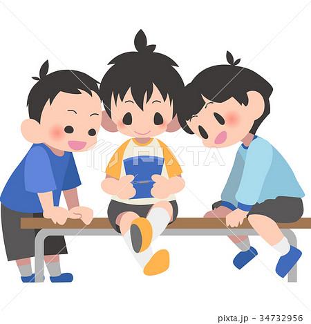 ベンチでゲームする子供のイラスト素材 34732956 Pixta