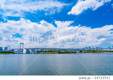 《東京都》夏空の東京湾 34733551