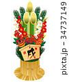 年賀状素材 年賀状 戌のイラスト 34737149
