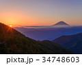 ご来光 富士山 雲海の写真 34748603