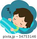 穏やかな表情で眠る男の子 34753146