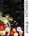 年賀状 和柄 戌のイラスト 34754830