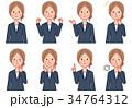 ビジネスウーマン 感情 表情のイラスト 34764312