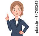 紺スーツ 女性 正面 注意 34765262