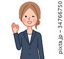 紺スーツ 女性 正面 OK 34766750