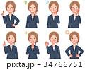 ビジネスウーマン 感情 表情のイラスト 34766751