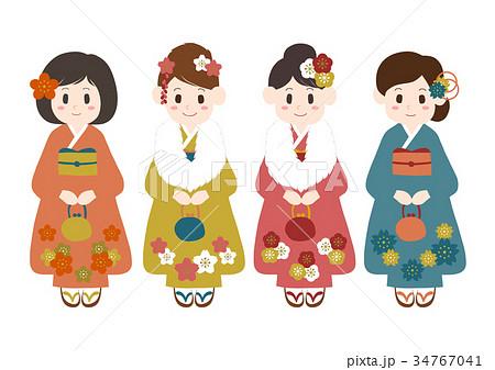 女性 着物 成人式 お正月 イラスト 34767041
