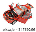 Suv red car with open doors viewed from above. 34769266