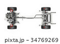 SUV Car Under carriage technical Top view. 34769269