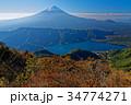 紅葉の十二ヶ岳から見る初冠雪の富士山と西湖 34774271