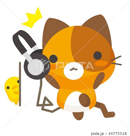 ネコとーく。三毛猫+ヘッドフォン 34775518