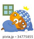 猫 三毛猫 寝坊のイラスト 34775855