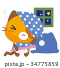 猫 三毛猫 パジャマのイラスト 34775859