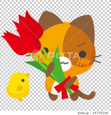 ネコとーく。三毛猫+チューリップ 34776106