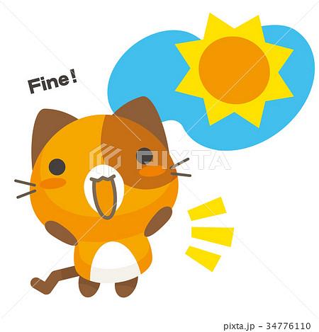 ネコとーく。三毛猫+天気予報 晴れ 34776110
