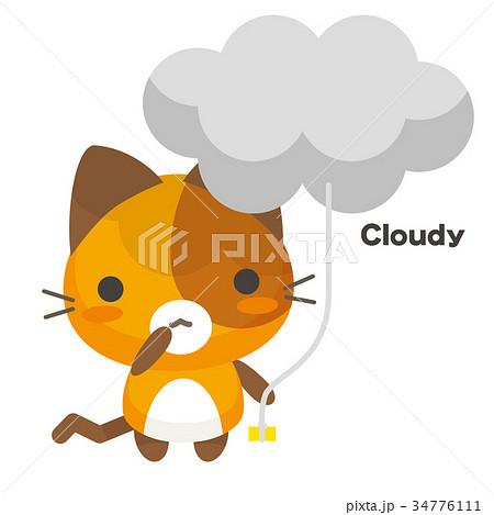 ネコとーく。三毛猫+天気予報 くもり 34776111