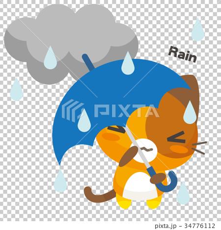 ネコとーく。三毛猫+天気予報 雨 34776112