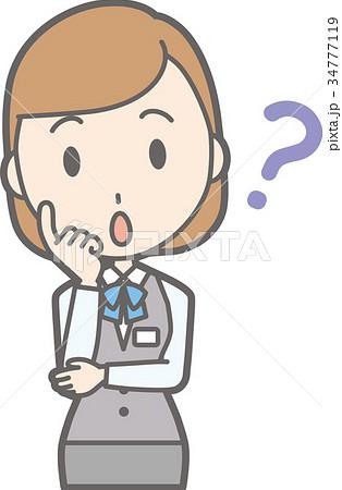 制服を着た事務員の女性が考えているイラストのイラスト素材 34777119