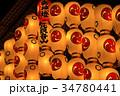 ライトアップされた祇園祭の山車の提灯 34780441