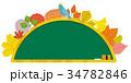 秋の葉のリース 黒板 34782846