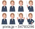 ビジネスウーマン 感情 表情のイラスト 34783296