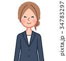 紺スーツ 女性 正面 微笑む 34783297