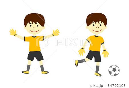サッカーをする男の子 ゴールキーパー 34792103