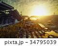 夕日 夕焼 日没のイラスト 34795039