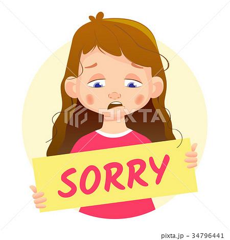 Sad Girl holding Sorry poster 34796441