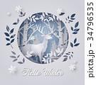 雪 トナカイ しかのイラスト 34796535