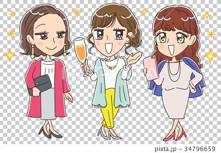 アーバンな大人女子のイラスト 34796659